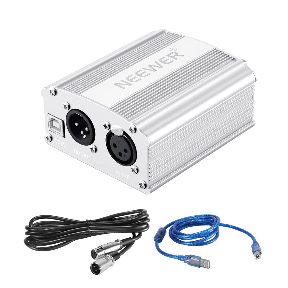 Neewer 48V Phantom Power Supply with USB Cable,BONUS+XLR 3 Pin Microphone Cable