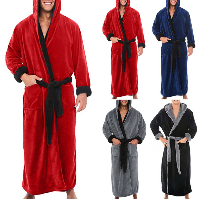 Men Casual Baggy Plain Bathrobe Bath Robe Dressing Gown Loungewear Sleepwear
