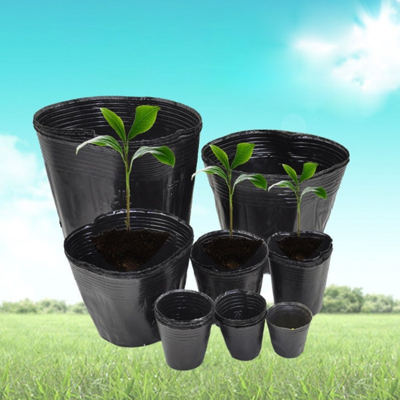 PE Plastic Nursery Bags Plant Grow Bags Seedling Pots With Breathable Holes For Fruits Vegetables Flowers Garden Supplies 100Pcs