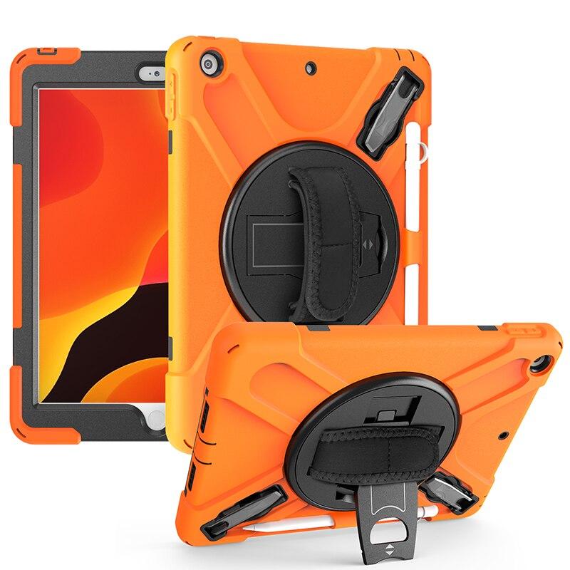 جراب سيليكون مقاوم للصدمات مع حامل وحزام يد دوار لجهاز iPad 10.2 2020 ، غطاء أطفال لجهاز iPad 7 10.2 2019