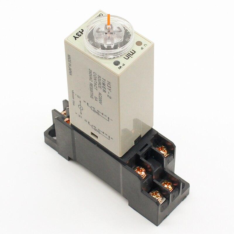 1 шт. H3Y-2 AC 220 В Таймер задержки Реле времени 0 - 30 минут/секунд с базой бесплатная доставка