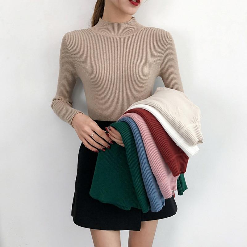 Fabricantes vendendo nova camisola feminina outono/inverno 2018 cor pura núcleo-fio girado meia gola alta camisola topo feminino