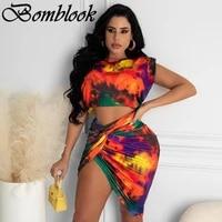 bomblook sexy party club sweet womens suit summer 2021 print irregularity crop top cross shirring skirt sets femme streetwears