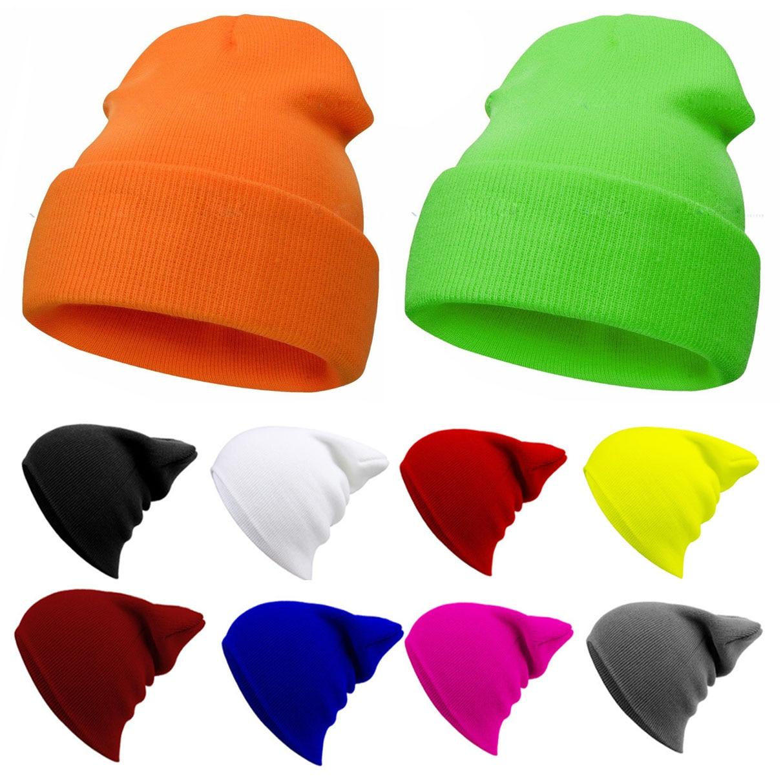 Однотонная вязаная зимняя женская осенне-зимняя спортивная шапка для улицы Теплая Лыжная шапка с манжетами мягкие шапки