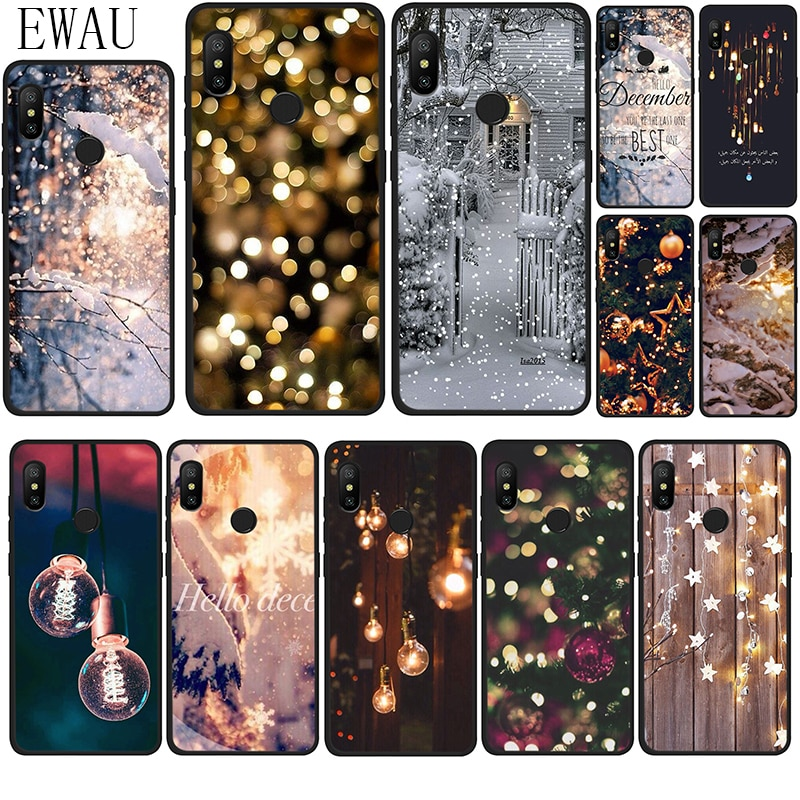 EWAU paisaje invierno luz nieve silicona funda para teléfono Xiaomi Redmi Note 4 4X5 6 7 8 Pro 5A primer