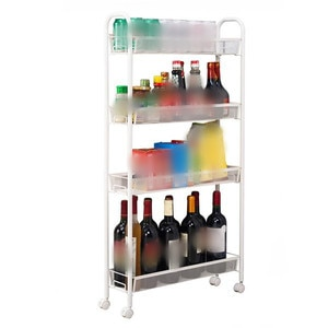 4-Tier Storage Shelves Mesh Style Four Layers Removable Storage Cart Home Kitchen Supplies