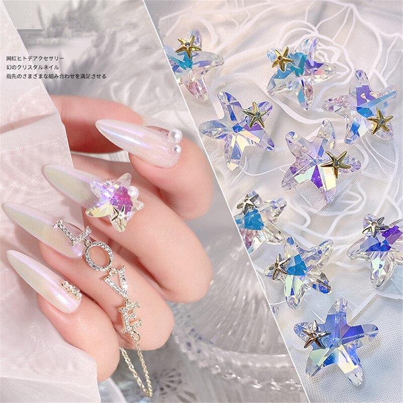 5 pçs brilhante ab cristal 3d arte do prego strass decorações starfish diy jóias manicure design acessórios 14*14mm