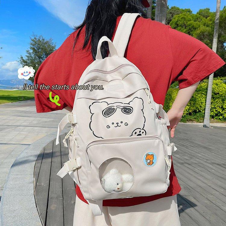 Японский рюкзак в стиле преппи, женские рюкзаки с мультяшным принтом и прозрачными карманами, школьные сумки для девочек-подростков, женски...