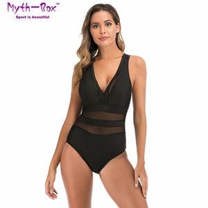 2020 One Piece Swimsuit Women Mesh Stripe Swimwear Deep V Monokini Cross Jumpsuit Beach Bathing Suit Swim Bikini Female Bodysuit