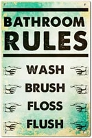 metal tin sign wall decor poster for bathroom rules wash brush floss flush vintage metal sign decorative plaque 12 x 8 inch