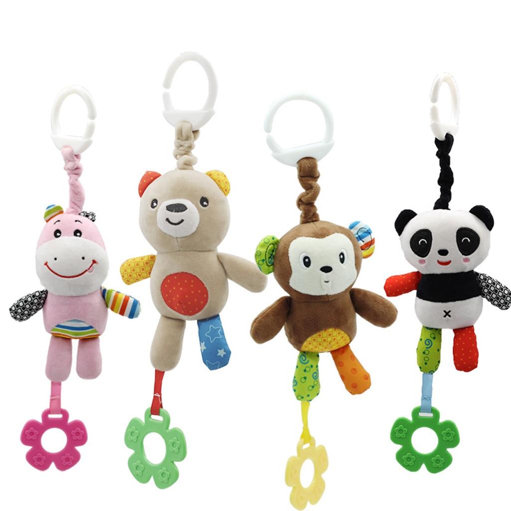 Juguete de felpa con carillón de viento, accesorios para carrito de cama en espiral, colgante para coche de bebé, juguetes educativos para bebés, juguetes de campana colgantes de animales de dibujos animados