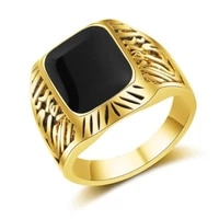 new retro bohemian black crystal inlaid ring mens ring fashion metal gold plated ring accessories party jewelry