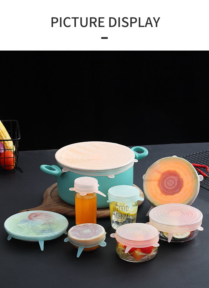 New Kitchen Accessories 6 Pcs/set Reusable Universal Silicone Cover Fresh Keeping Silicone Stretch Lids Caps for Food Pot Dish