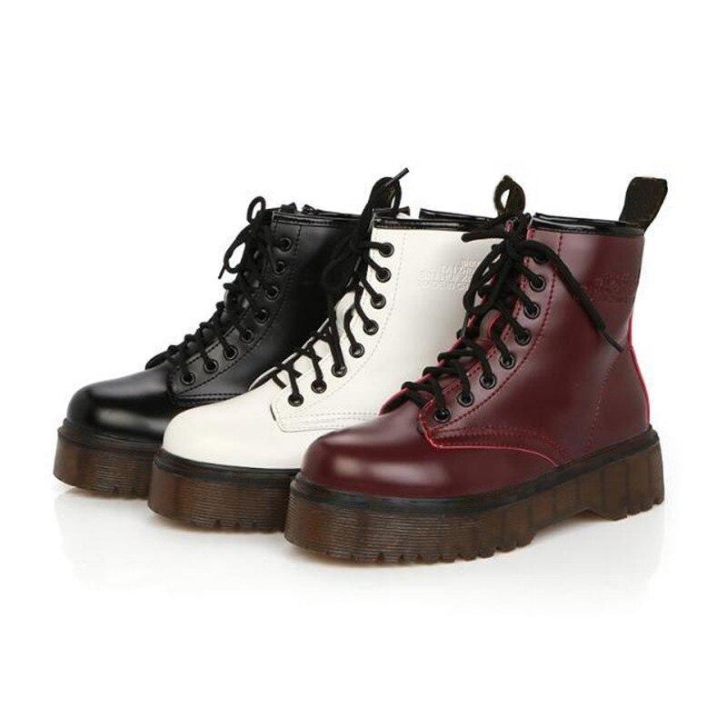 Rimocy-حذاء نسائي بكعب مسطح من الجلد ، حذاء عسكري ، مبطن بالقطن ، الخريف والشتاء
