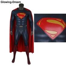 Hoge Kwaliteit Man Van Staal Superman Cosplay Kostuum Met Cape Super Hero Superman Zentai Pak Met U-rits Voor Man