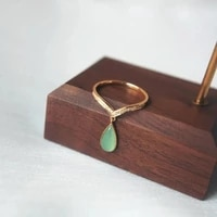 qingshui chalcedony water drop ring s925 sterling silver inlaid diamond ring female color gold ice jade rose gold
