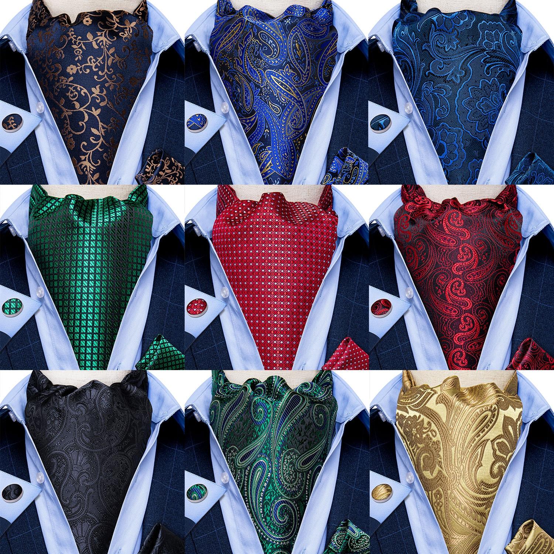 Men Vintage Blue Red Green Paisley Plaid Wedding Formal Cravat Ascot Scrunch Self British Style Gentleman Silk Necktie DiBanGu