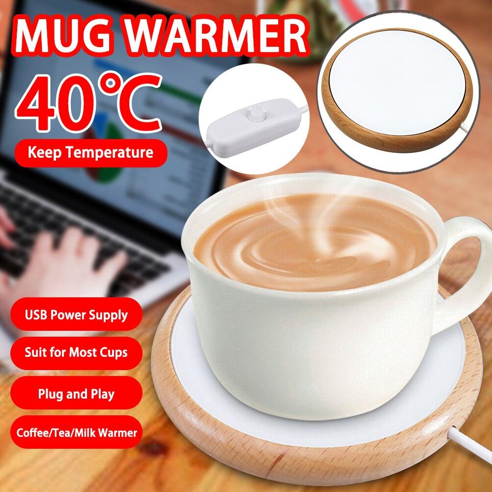 Posavasos de madera para taza hasta 4040taza eléctrica USB taza de madera almohadilla calentador almohadilla termo café té bebida de leche Cocina