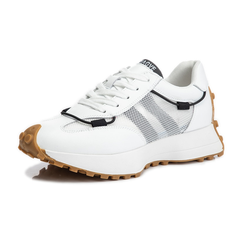 AIYUQI Women's Sneakers Genuine Leather 2021 New Summer Mesh Casual Shoes Women Lace-up Platform Shoes Women