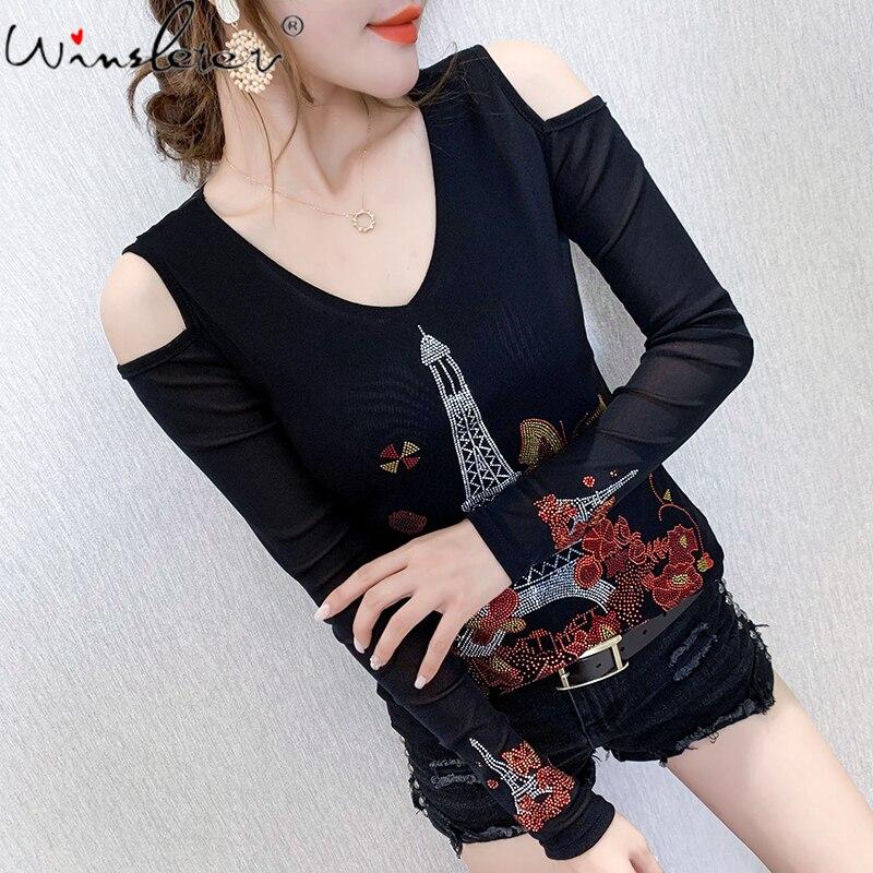 Outono inverno estilo coreano camiseta chique fora do ombro brilhante malha torre eiffel diamantes feminino topos sexy voltar ropa mujer t09131l