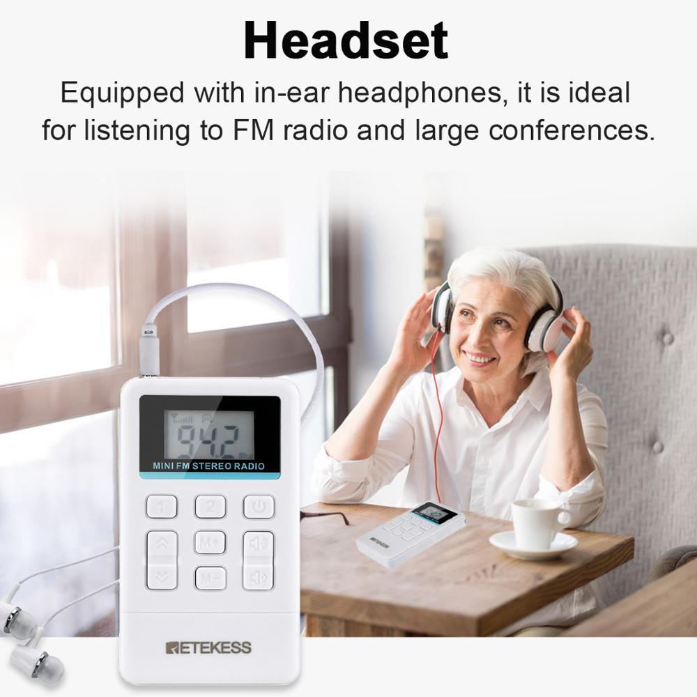 Retekess 10Pcs TR612 Portable FM Radio Pocket Radio Receiver with 3.5mm Earphone for Large Meeting Simultaneous Interpretation enlarge