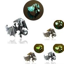 Mode lumineux Dragon anneaux Punk anneaux lueur dans le noir anneau réglable anneau bijoux taille libre doigt pour homme femmes cadeau
