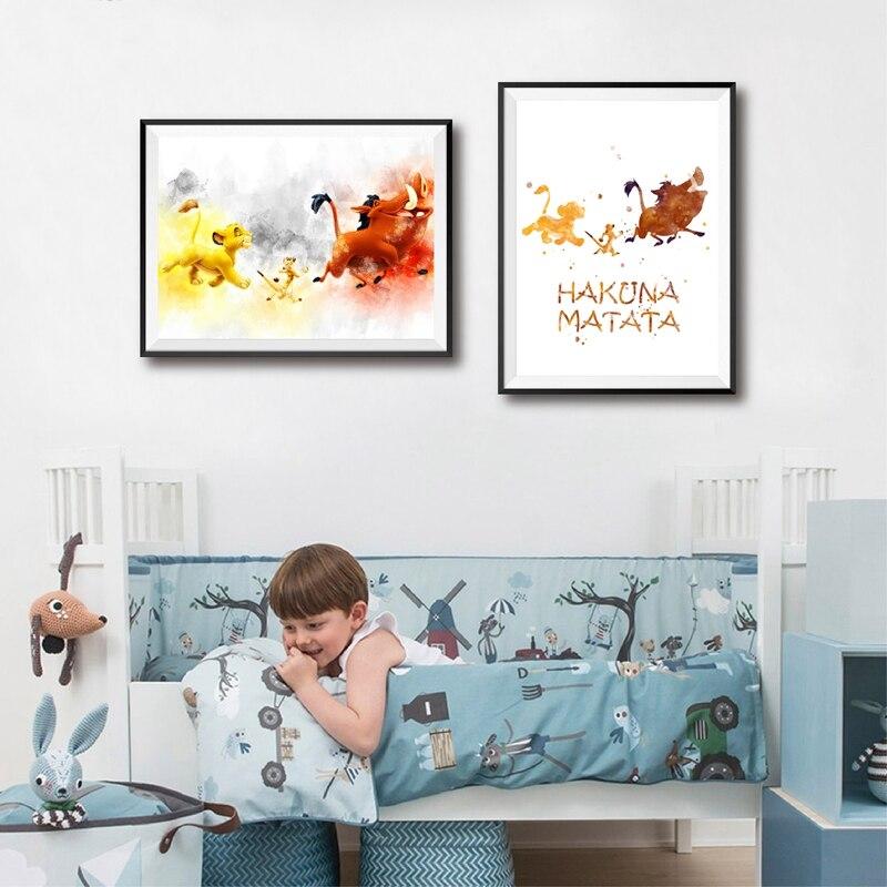 Cartoon anime lion king watercolor poster hight quality canvas painting Home Decor wall art Nursery Kids Room No Frame o799