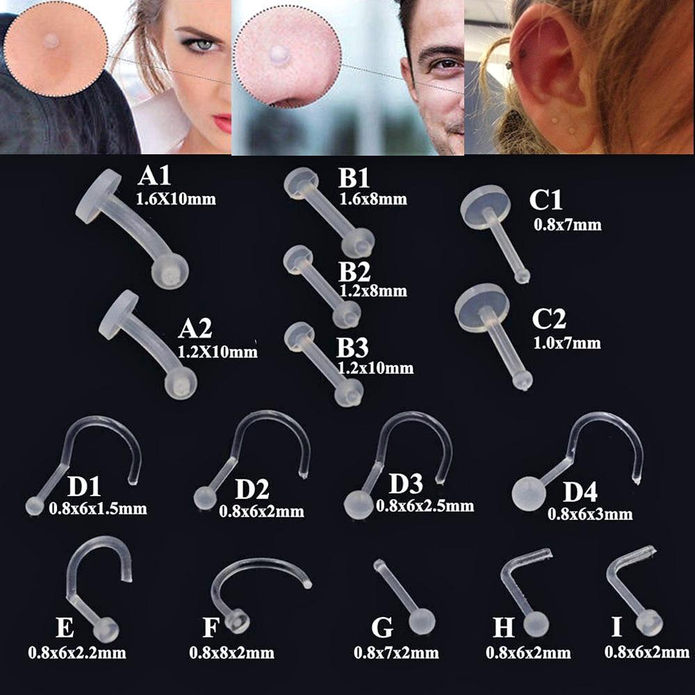 Из гибкого биопласта, серьги-гвоздики для носа, губ, гибкие фиксаторы для фиксации губ, хряща козелка, завитка, бровей, кольцо для пирсинга пу...