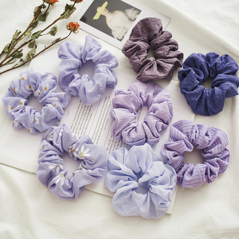 Trendy Grape Color Scrunchie Pack 8pcs/pack Women Cute Hair Accessories Girls Purple Series Scrunchies Set Wholesale Hair Bands