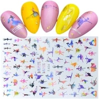 1 sheet 3d acrylic nail sticker beautiful dancing gril ultra thin adhesive decals nail art slide decoration decals