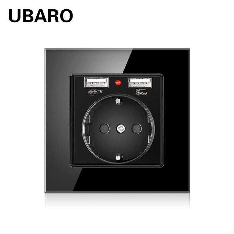 UBARO German Standard Ac100-250V 16A Crystal Glass Panel Usb Socket Electrical Plug Power Socket Prise Usb 5V 2100mA Wall Socket