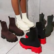 Women Platform Sock Boots 2021 Summer Autumn Ladies Mesh Breathable Ankle Boots Female Mid Heels Wom