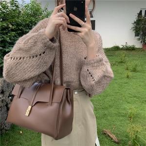 Зимняя дизайнерская Роскошная мягкая большая сумка-тоут женская винтажная кожаная коричневая сумка для девушек брендовые минималистичные...
