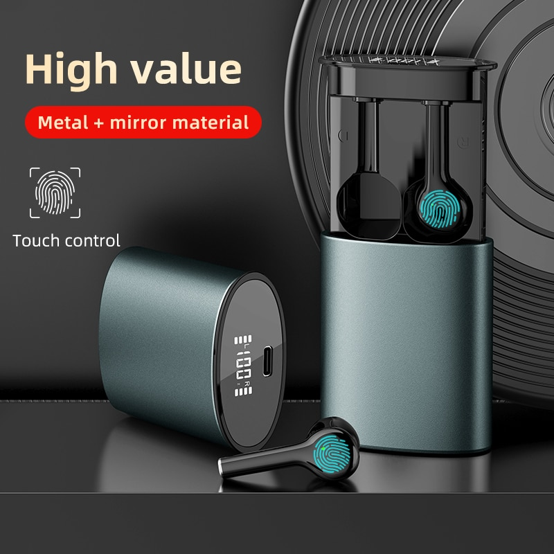 Auriculares Bluetooth V5.0 de estilo extraíble, auriculares inalámbricos TWS con espejo LED para Android Ios