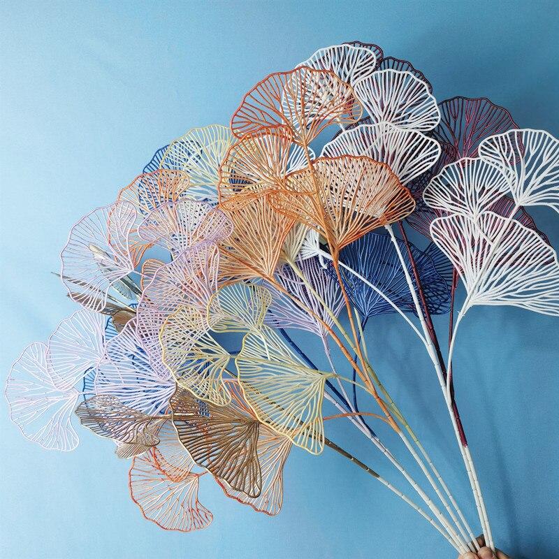 3 uds simulación nórdica Ginkgo arte con hojas perforadas perchas de pared creativas sala de estar entrada ginkgo Artificial arte con hojas Decoración