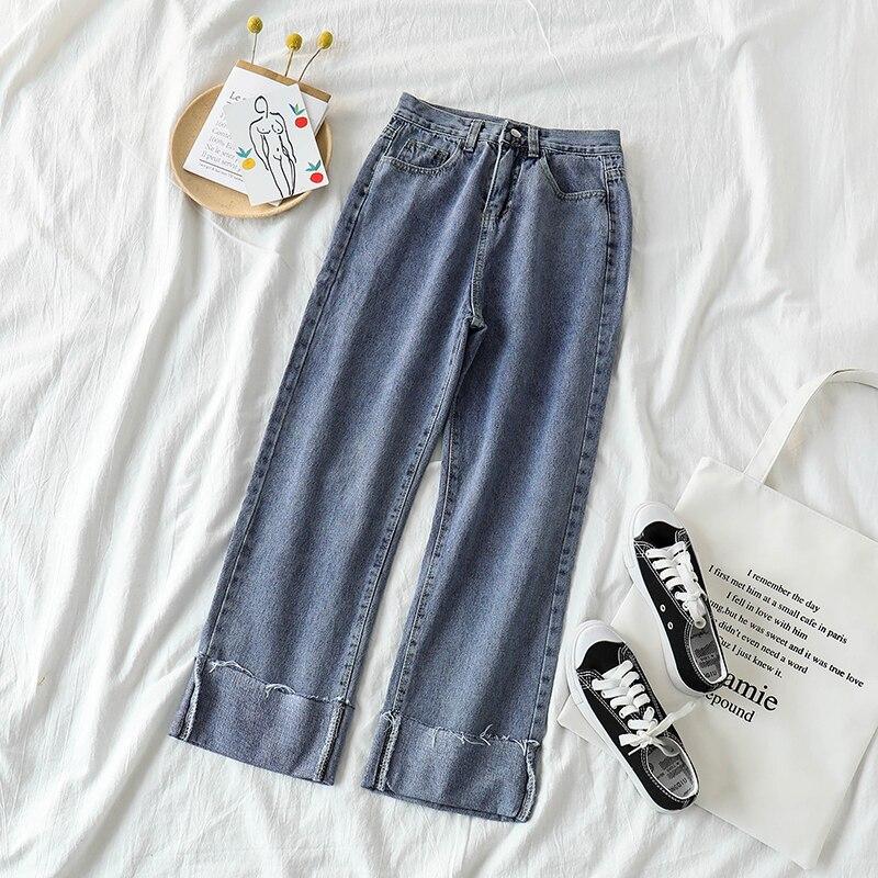 Chic Elegant Wide Leg Jeans Women's Loose High Waist 2021 Spring Daddy Hong Kong Style Mop Slimming