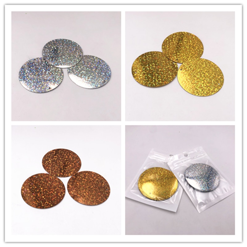 30Pcs/Pack 55mm Large Flat Round Laser Sequins Drilling Paillettes For Craft Wedding Sewing DIY Handmade Lentejuelas Accessories