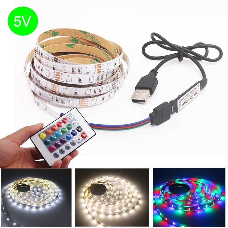 Nueva tira de luces LED USB 3AA DC 5V, de 50CM 60LED, 1M, 2M, 3M, 4M, 5M, SMD 2835, iluminación de fondo de TV de pantalla de decoración de escritorio