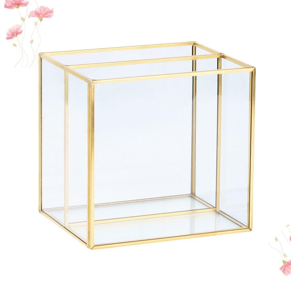 طبق مجوهرات زجاجي ذهبي 15.8 × 12.8 سنتيمتر ، منظم مكتب مستحضرات التجميل ، صندوق تخزين (شبكتان)