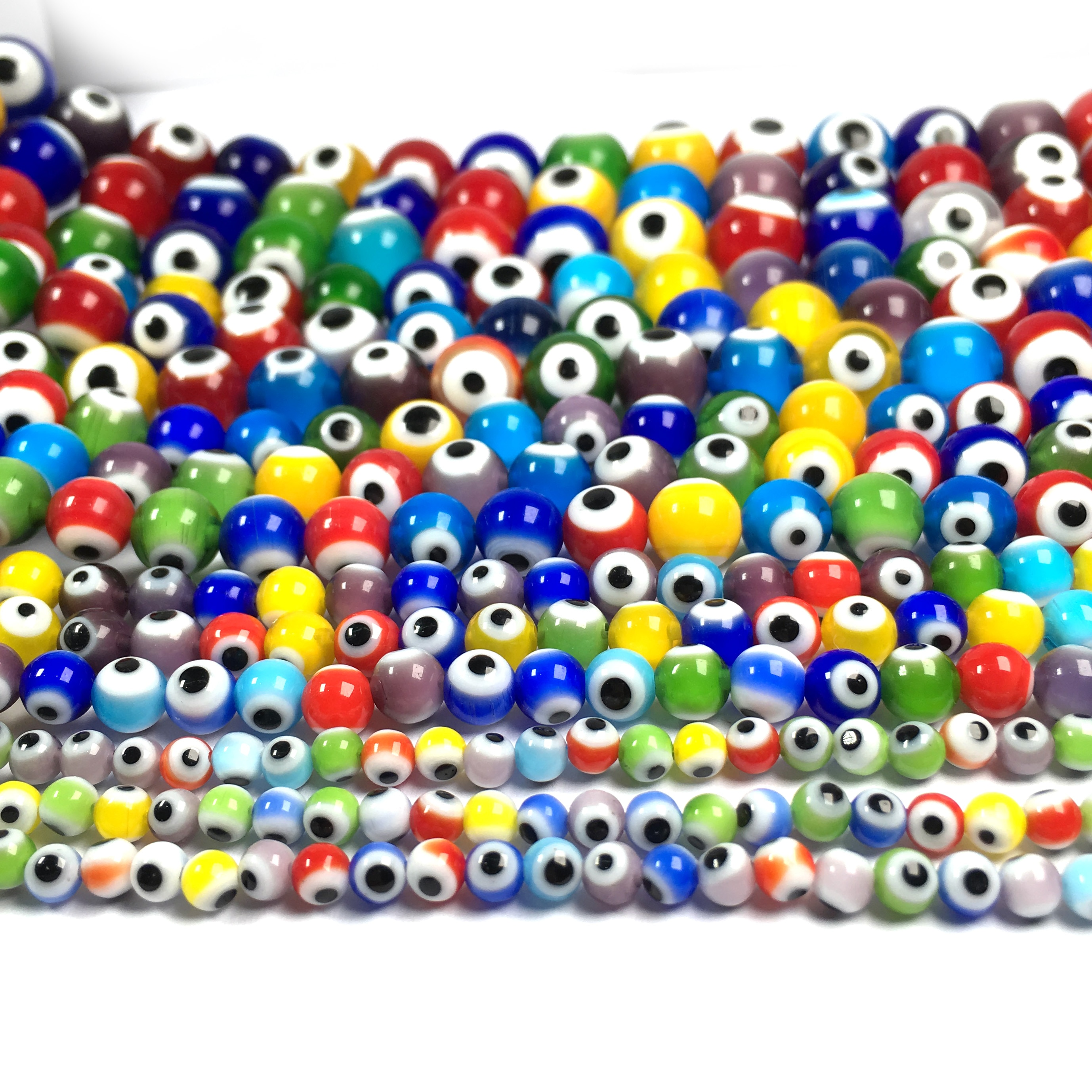 Trendy Multicolor Round Evil Eye Beads Lampwork Glazed Glass Beads for Women DIY Necklace Bracelet Making Jewelry Findings Gift  - buy with discount