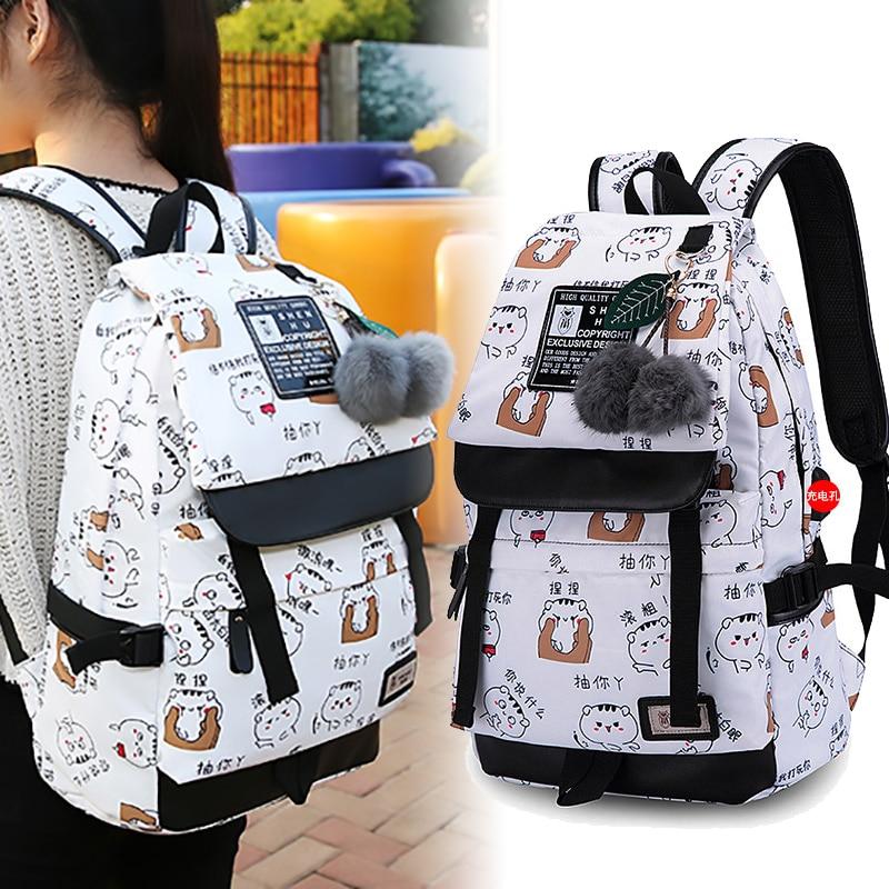 Mochilas para niñas, mochila de viaje de nailon resistente al agua a la moda para ordenador portátil con puerto USB, mochila femenina escolar