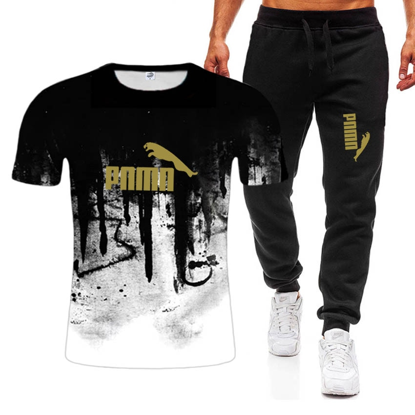 2021 Summer New suit Men's Leisure T-shirt Fashion style Men's Assembly comes with a handsome set