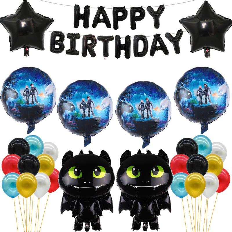 41 Uds. Cómo entrenar tus globos de dientes dragón negro sin dientes Ceremonia de cumpleaños fiesta bebé niño tema héroe Decoración Juguetes