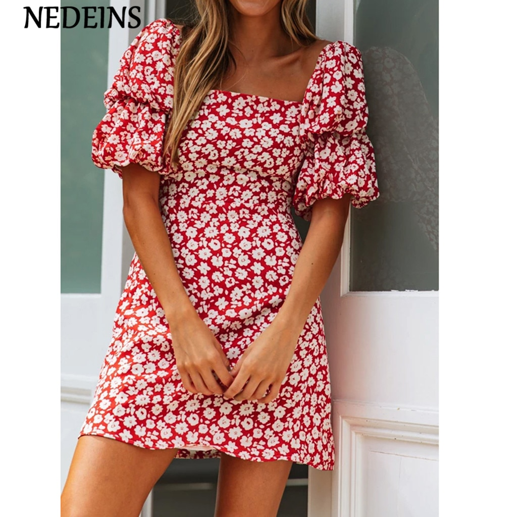 NEDEINS Summer Women Floral Dress Sexy Boho Beach Dress Red Dresses For Woman Sexy Mini Party Dress Woman Dress Elegant Evening