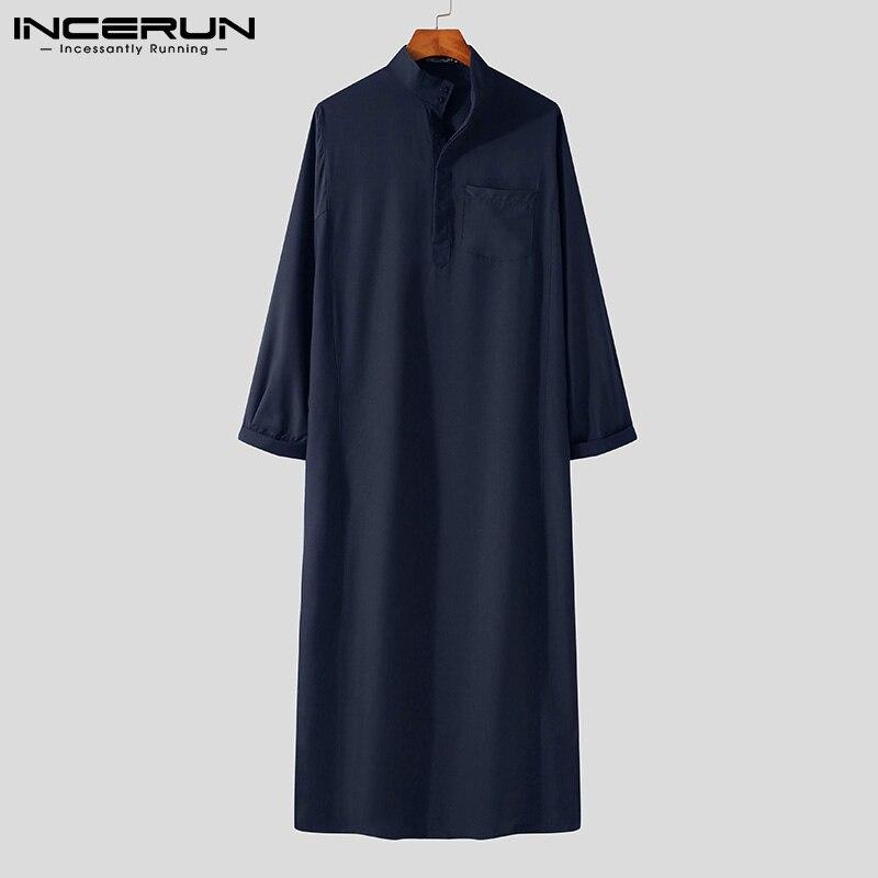 Мужской мусульманский исламский кафтан INCERUN, винтажный кафтан с длинным рукавом, мужской халат, свободный Кафтан Дубай, саудовская Арабская... twinset кафтан