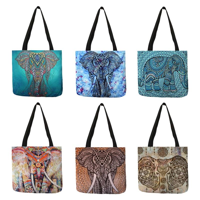 Hermoso bolso de mano de diseño para mujeres elefante árboles pintura Lino compras trabajo Casual bolso Femme Homme Sac A Main