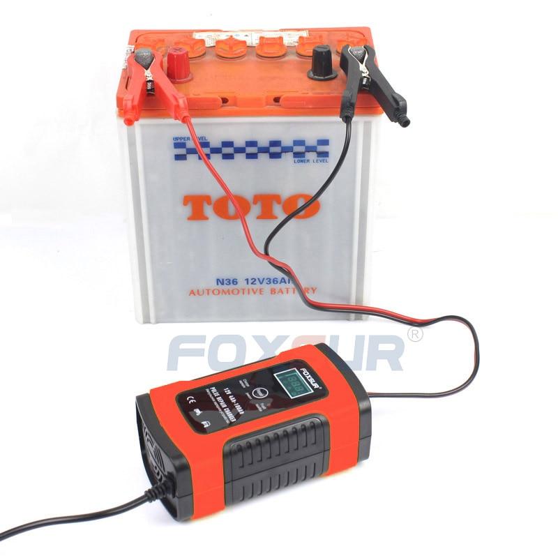 Chargeur de batterie Intelligent automatique   Chargeur de batterie, pour moto et voiture, EFB AGM GEL, avec écran LCD, 12V