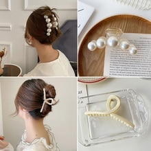 1/2pcs Pearl Hair Clips for Women Girls Hair Claw Chic Barrettes Claw Crab Hairpins Styling Fashion