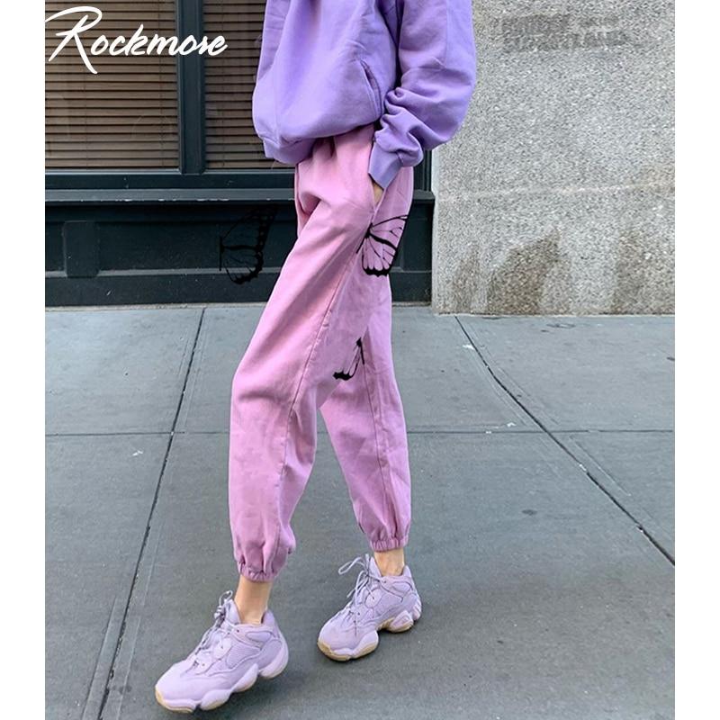 Rockmore mariposa impreso pantalones de chándal de talla grande tamaño de cintura alta pantalones de mujer rosa Harajuku pantalones Streetwear de larga