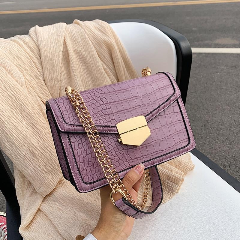 Crocodile Pattern Crossbody Bags For Women 2020 Small Chain Handbag Small Bag PU Leather Hand Bag Ladies Designer Shoulder Bags